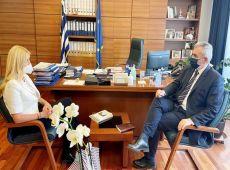 """Μ. Χαρακόπουλος με Φ. Αραμπατζή: """"Ευρωπαϊκή"""" λύση για ζωοτροφές, αυστηροί έλεγχοι για μαϊμού-φέτα"""